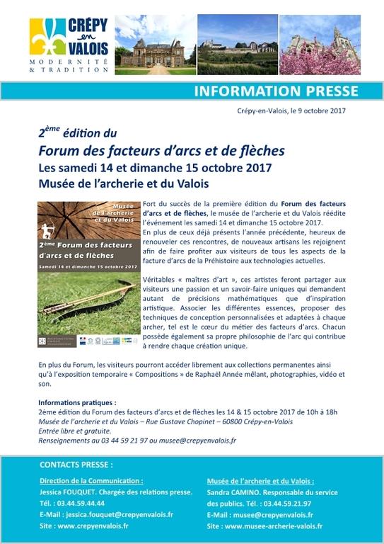 Forum des facteurs d'arcs et de flèches, samedi 14 et dimanche 15 octobre au musée de l'archerie et du Valois